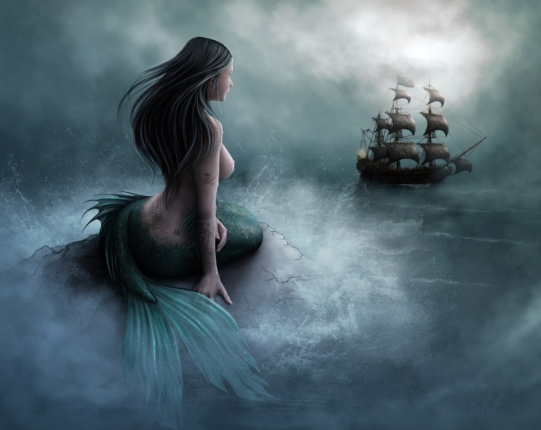Mermaid and the Pirate ship